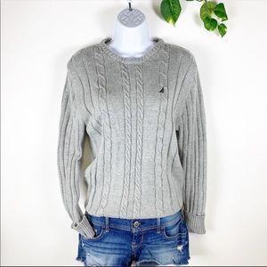 Nautica Light Gray Cableknit Crewneck Sweater